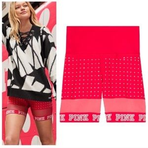 PINK Victoria's Secret Shorts - Vs Pink Mesh Bike Short Bling Red S